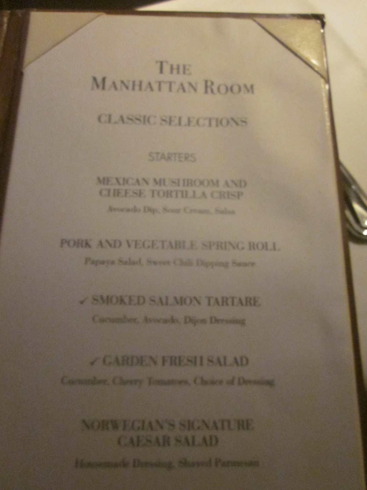 Ncl Norwegian Epic Manhattan Room Menu On Travelxena Com
