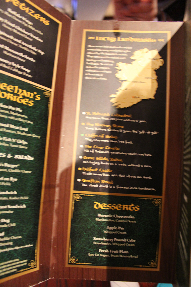 O Sheenhans Menu Norwegian Getaway Travelxena 2